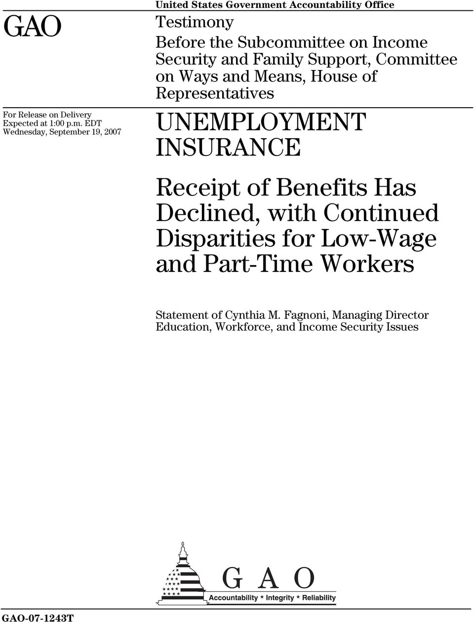 Income Security and Family Support, Committee on Ways and Means, House of Representatives UNEMPLOYMENT INSURANCE
