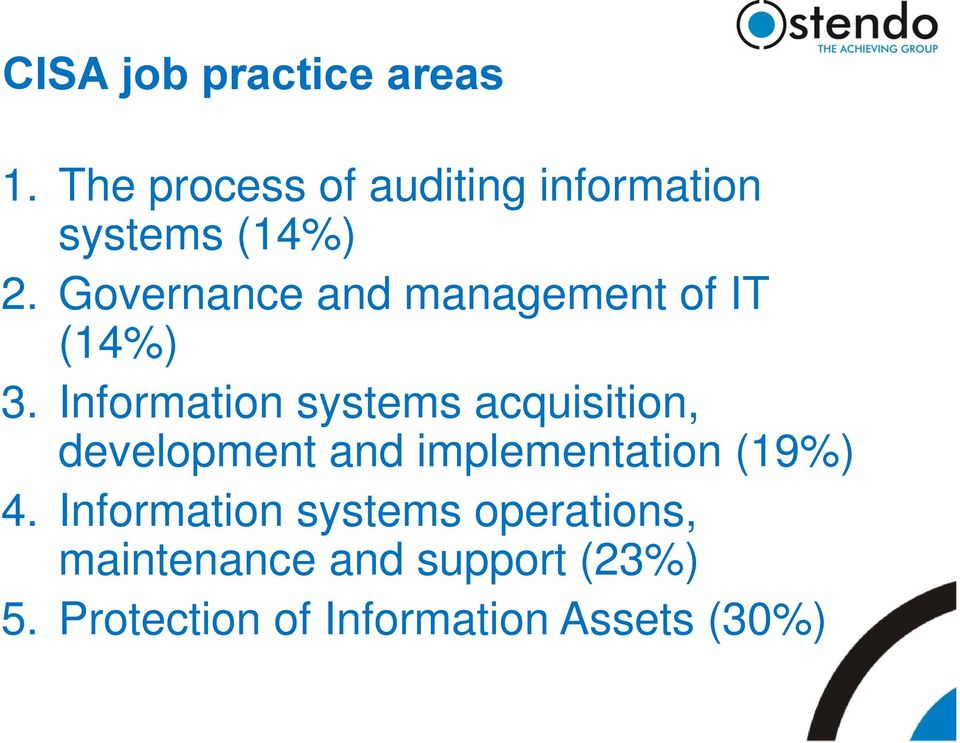Governance and management of IT (14%) 3.