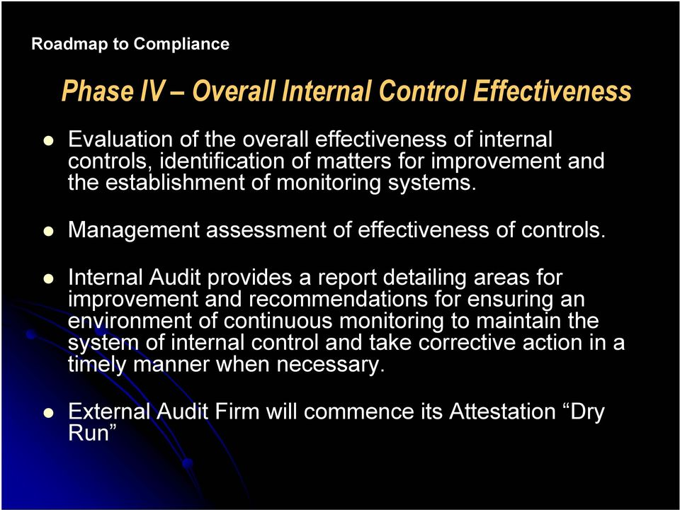 Internal Audit provides a report detailing areas for improvement and recommendations for ensuring an environment of continuous monitoring to