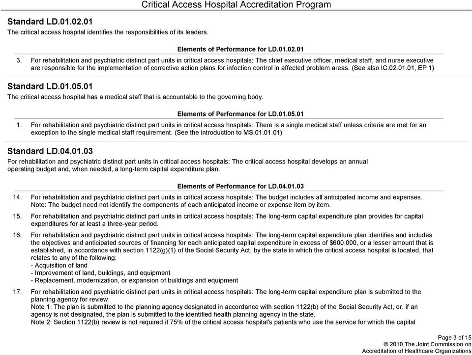 corrective action plans for infection control in affected problem areas. (See also IC.0001, EP 1) Standard LD.005.
