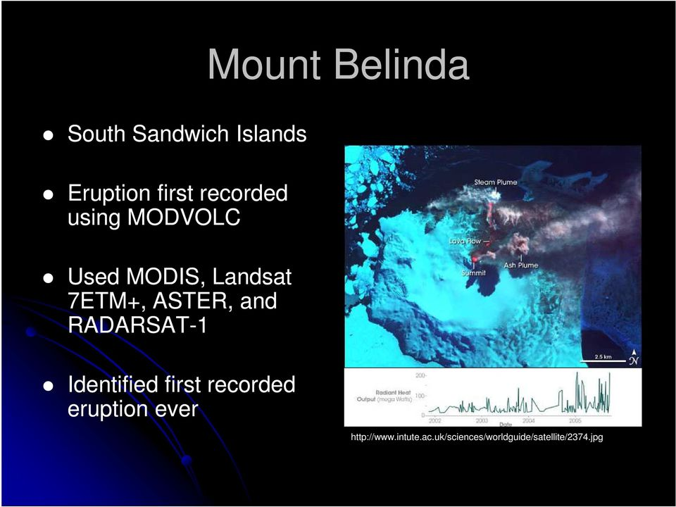 and RADARSAT-1 Identified first recorded eruption ever