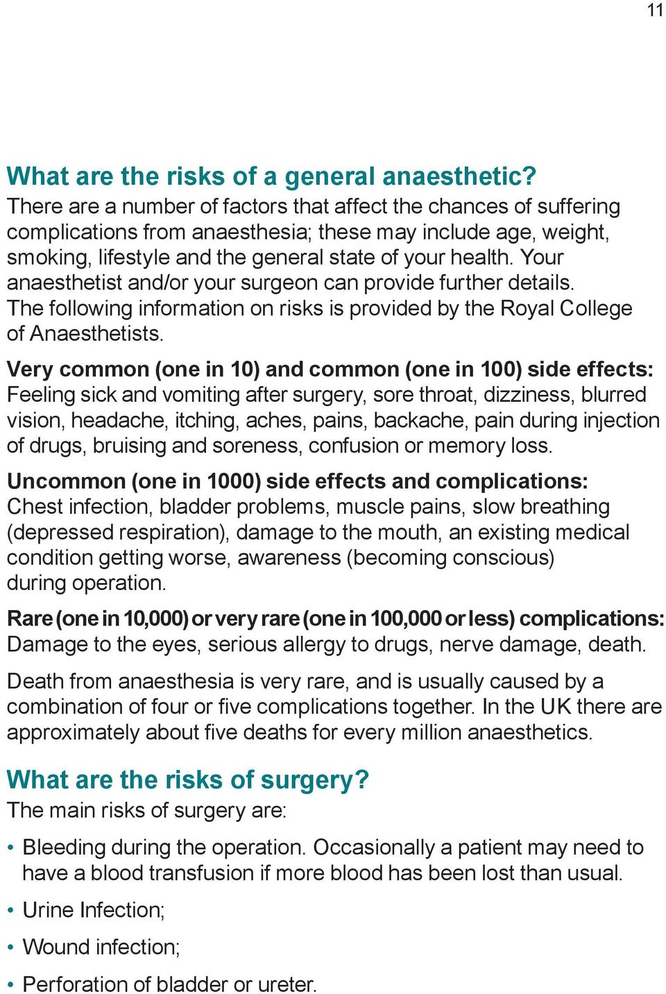 Your anaesthetist and/or your surgeon can provide further details. The following information on risks is provided by the Royal College of Anaesthetists.