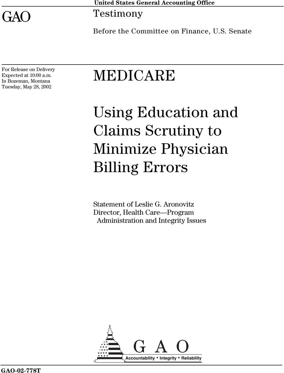 to Minimize Physician Billing Errors Statement of Leslie G.