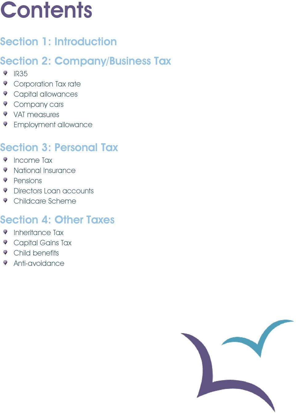 Personal Tax Income Tax National Insurance Pensions Directors Loan accounts Childcare