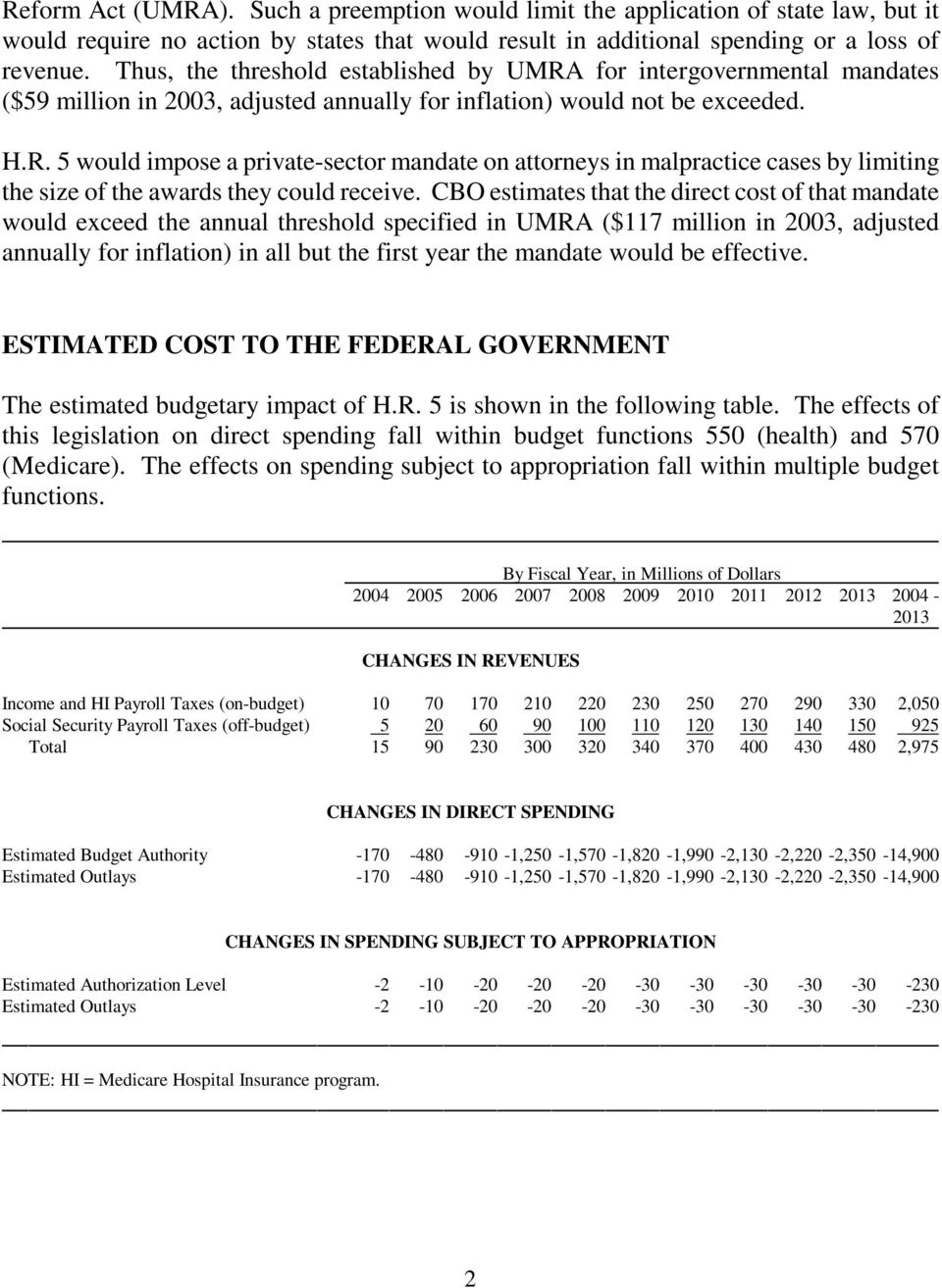CBO estimates that the direct cost of that mandate would exceed the annual threshold specified in UMRA ($117 million in 2003, adjusted annually for inflation) in all but the first year the mandate