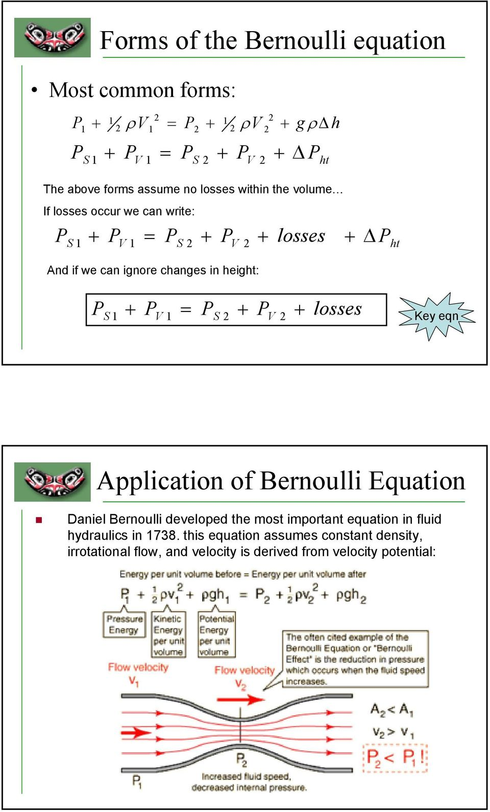 S + V = S + V + losses Key eqn Application of Bernoulli Equation Daniel Bernoulli developed the most important equation in