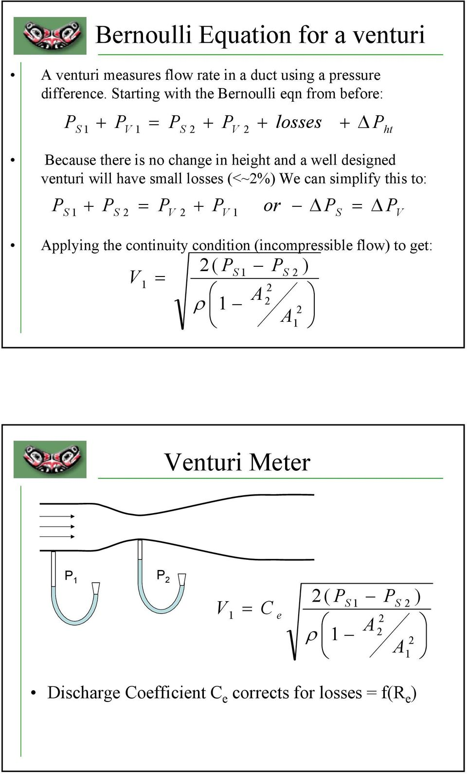 small losses (<~%) We can simplify this to: Applying the continuity condition (incompressible flow) to get: ht V S V S
