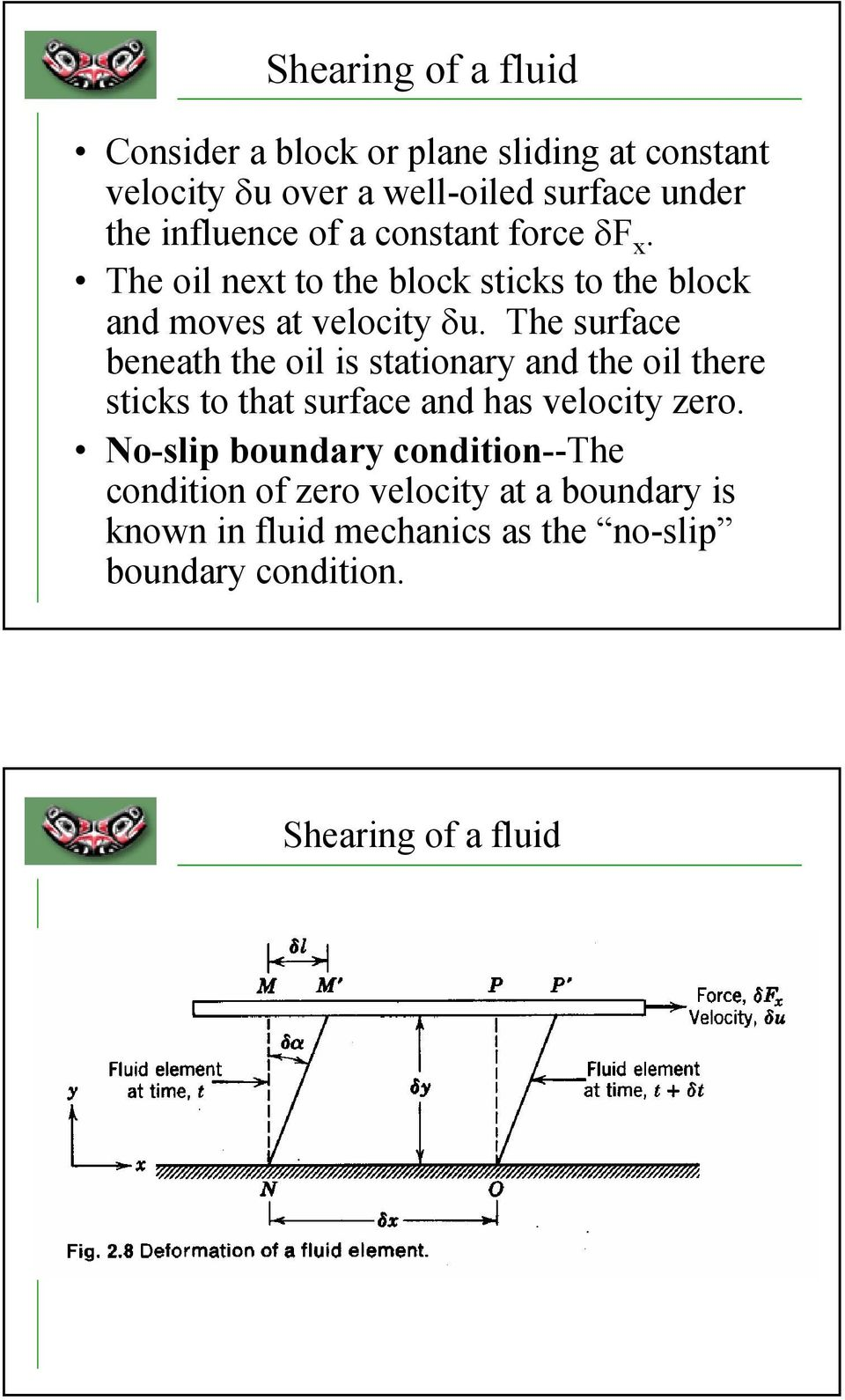 The surface beneath the oil is stationary and the oil there sticks to that surface and has velocity zero.