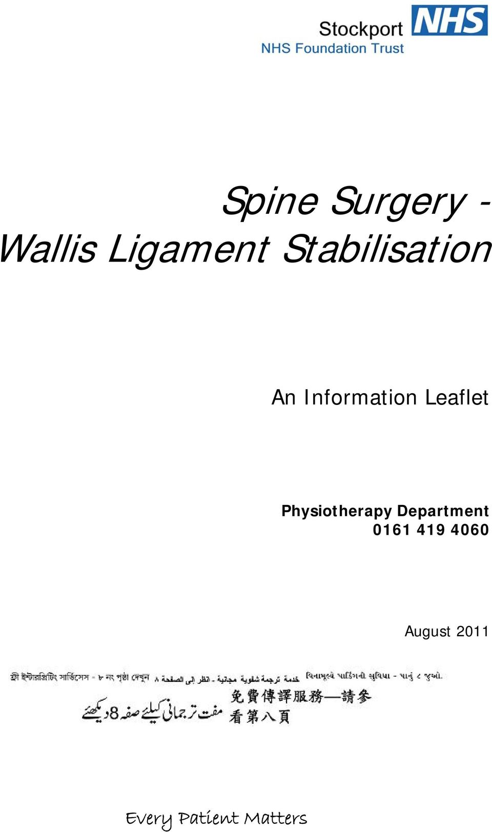 Leaflet Physiotherapy Department