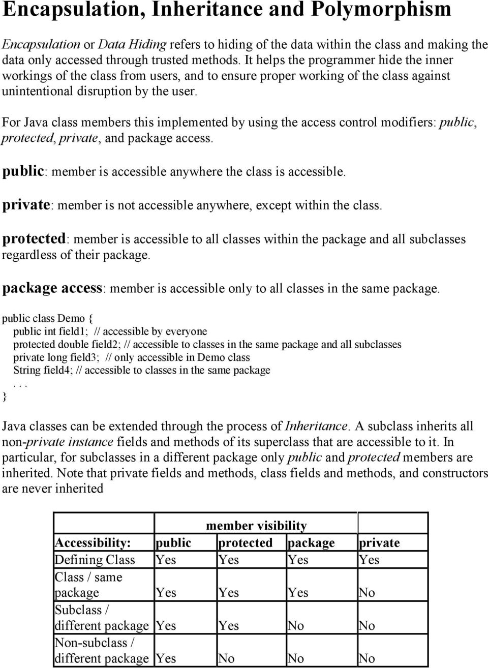 For Java class members this implemented by using the access control modifiers: public, protected, private, and package access. public: member is accessible anywhere the class is accessible.