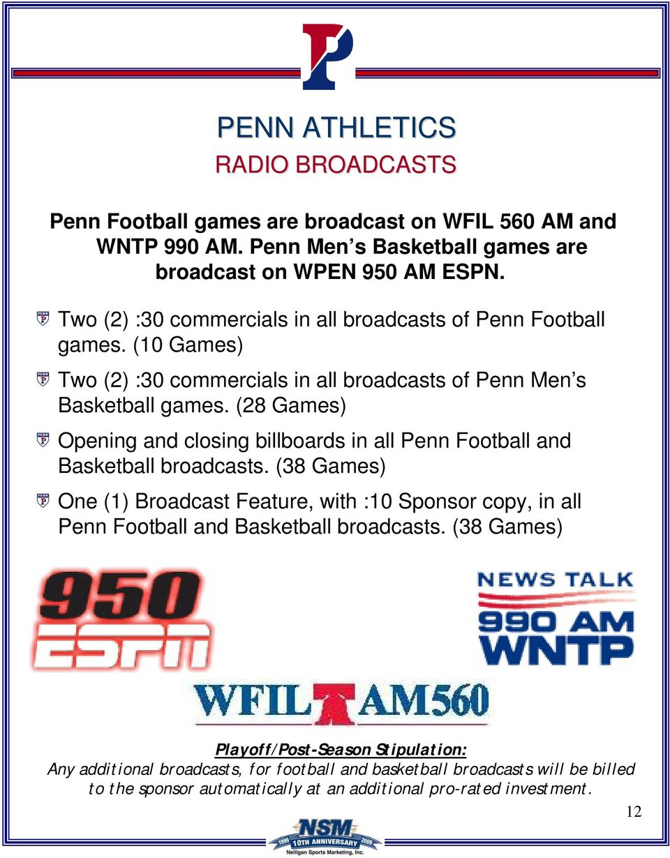 (28 Games) Opening and closing billboards in all Penn Football and Basketball broadcasts.