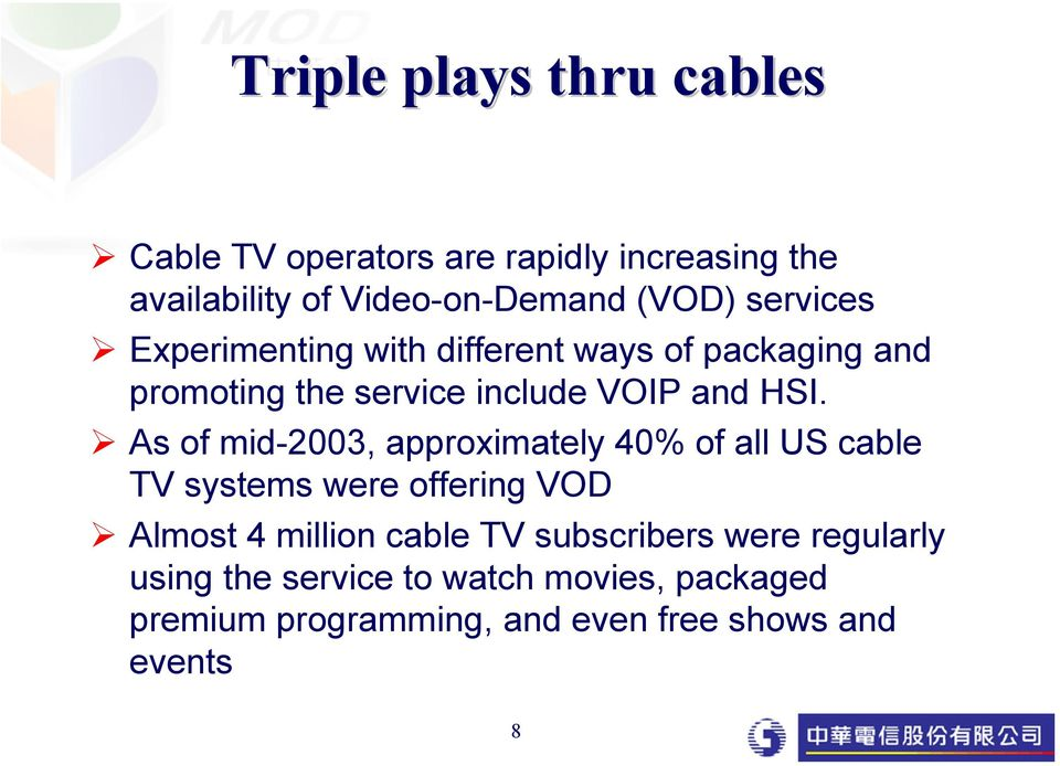As of mid-2003, approximately 40% of all US cable TV systems were offering VOD Almost 4 million cable TV