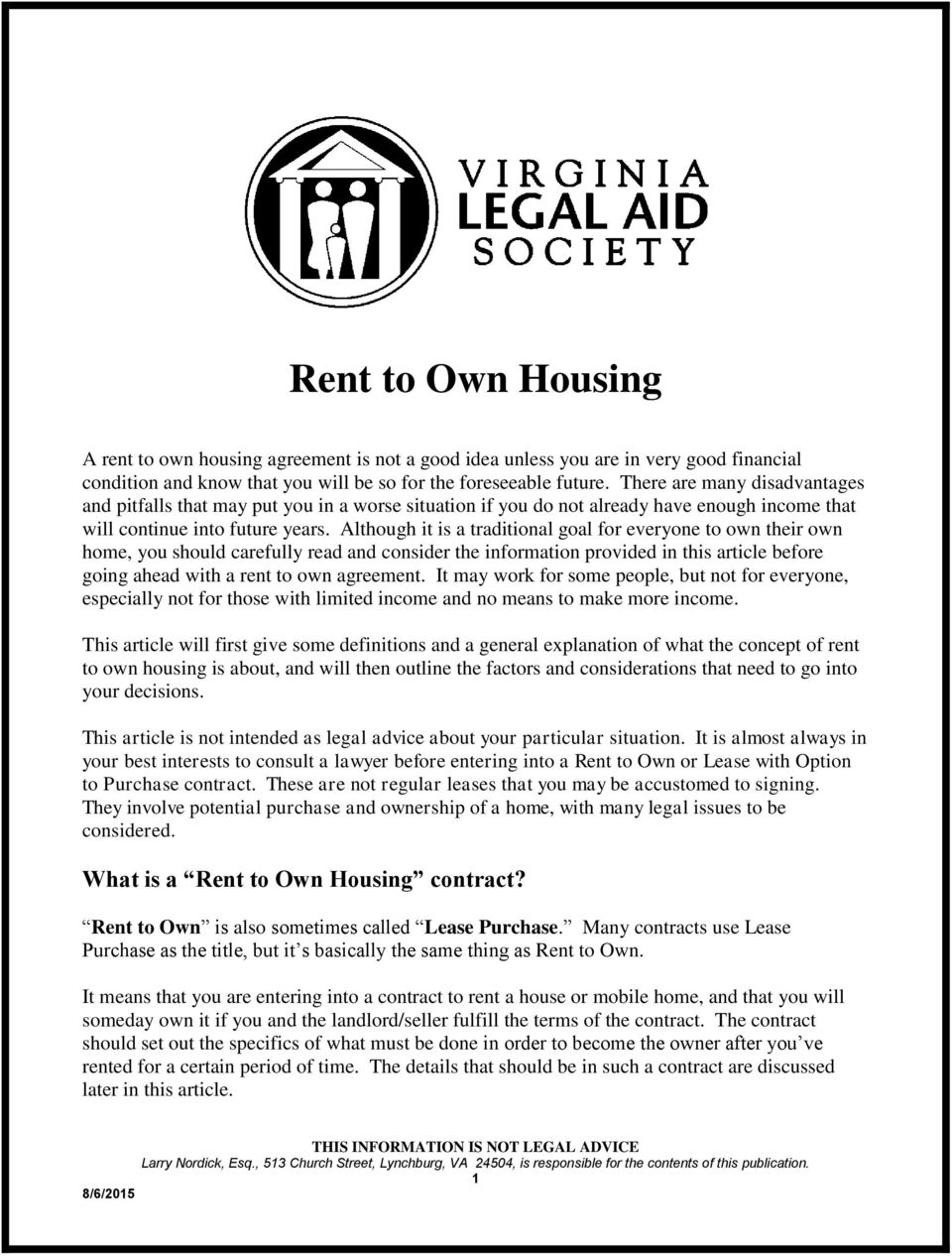 Rent To Own Housing What Is A Rent To Own Housing Contract Pdf