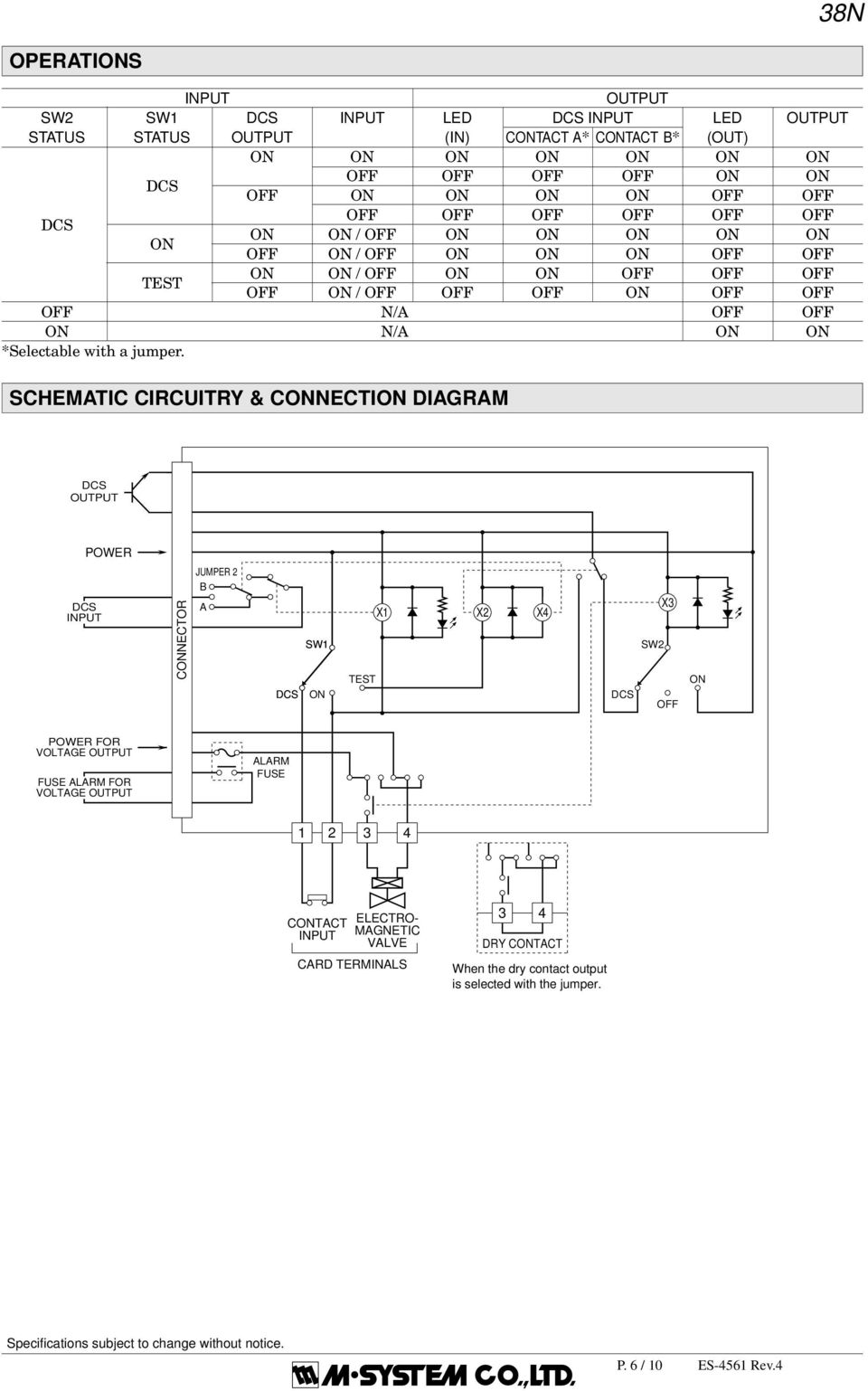 SCHEMATIC CIRCUITRY & CNECTI DIAGRAM POWER CNECTOR JUMPER 2 B A TEST X1 X2 X SW2 X OFF POWER FOR VOLTAGE FUSE ALARM FOR VOLTAGE ALARM