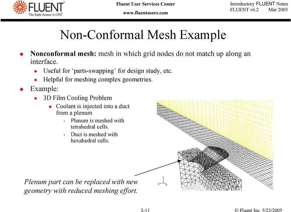 3D Film Cooling Problem Coolant is injected into a duct from a plenum Plenum is meshed with tetrahedral