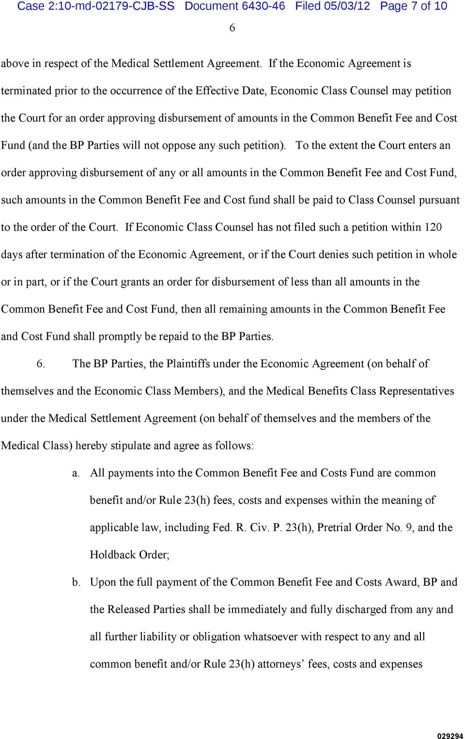 Benefit Fee and Cost Fund (and the BP Parties will not oppose any such petition).