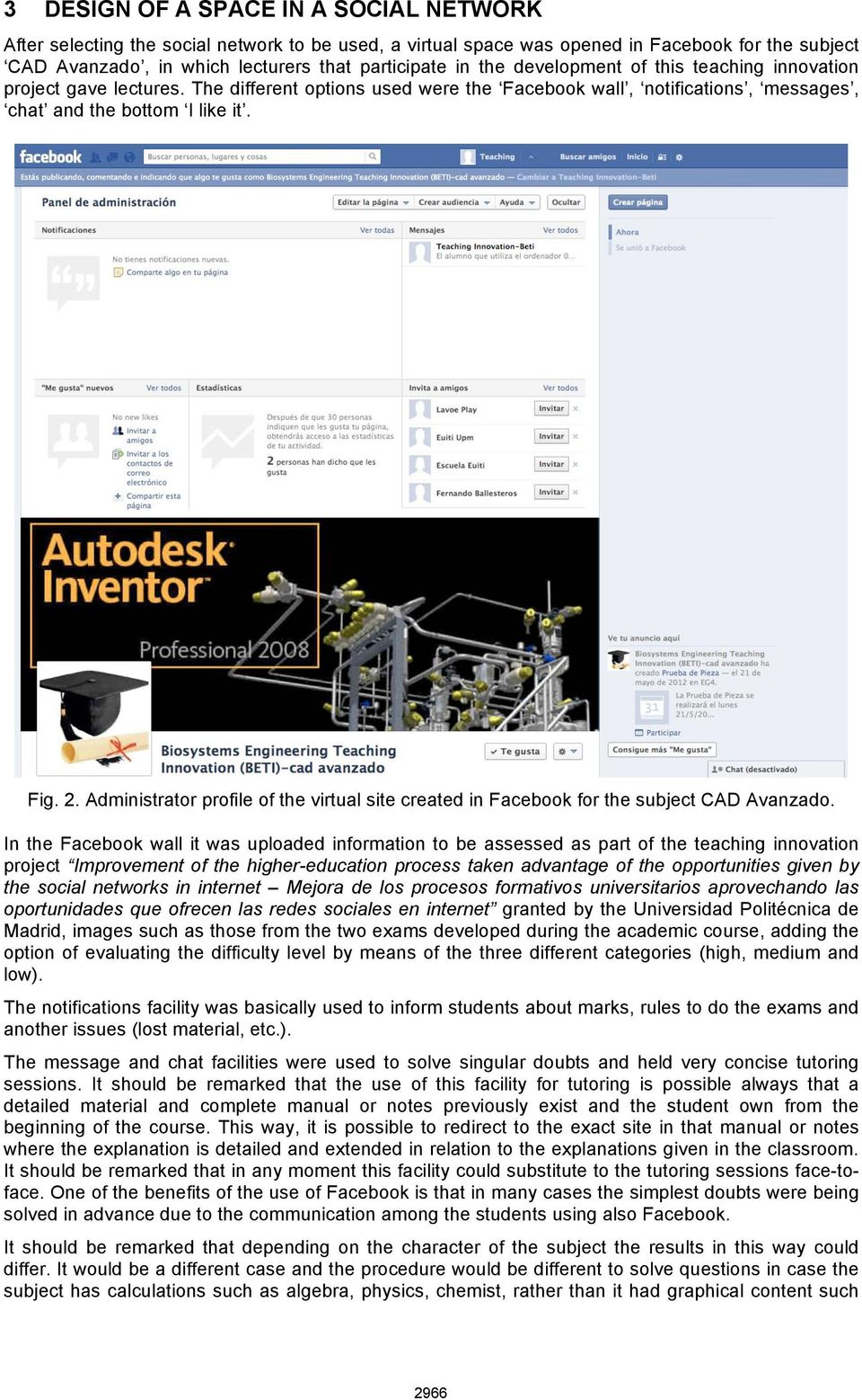 Administrator profile of the virtual site created in Facebook for the subject CAD Avanzado.