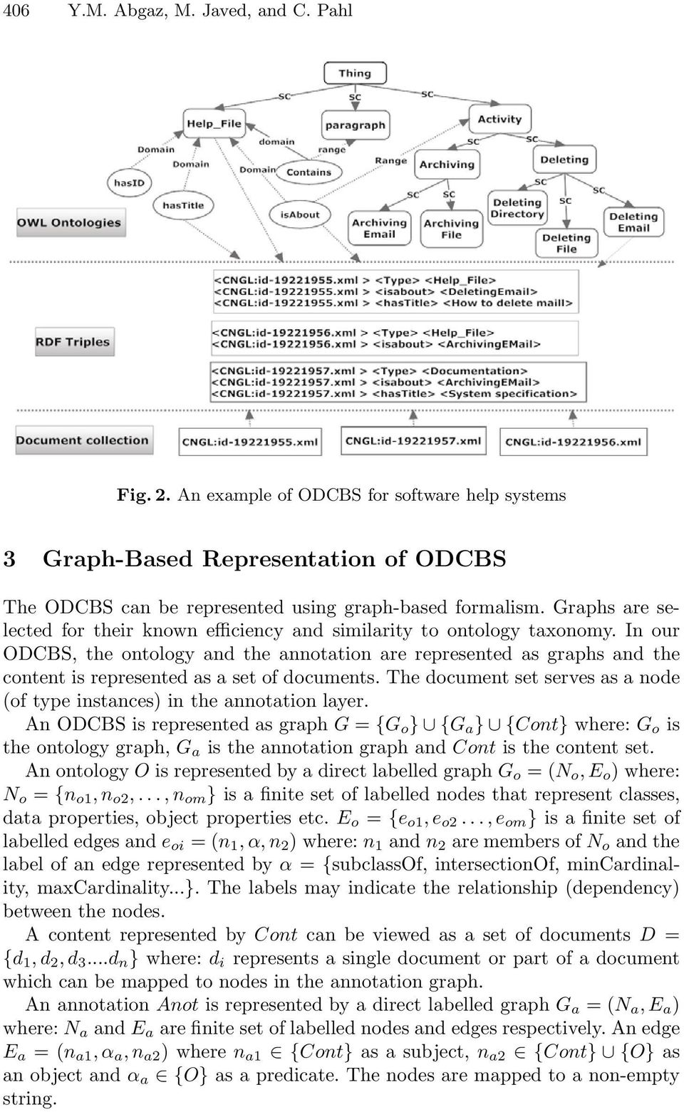 In our ODCBS, the ontology and the annotation are represented as graphs and the content is represented as a set of documents.