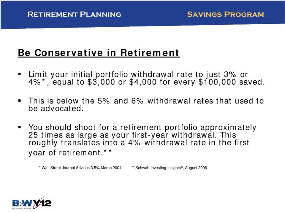 You should shoot for a retirement portfolio approximately 25 times as large as your first-year withdrawal.