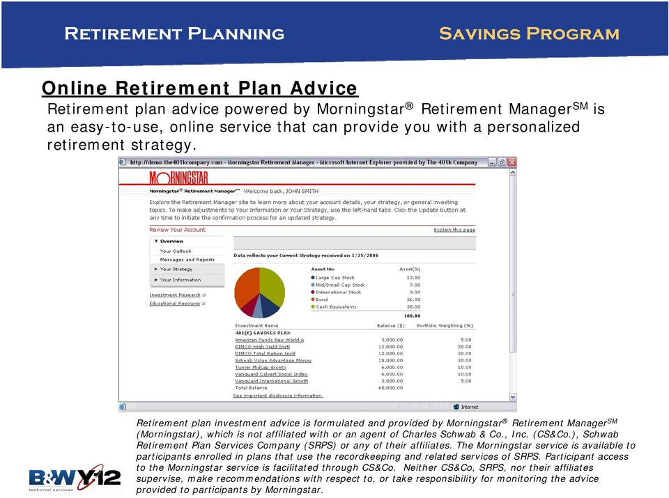 Retirement plan investment advice is formulated and provided by Morningstar Retirement Manager SM (Morningstar), which is not affiliated with or an agent of Charles Schwab & Co., Inc. (CS&Co.