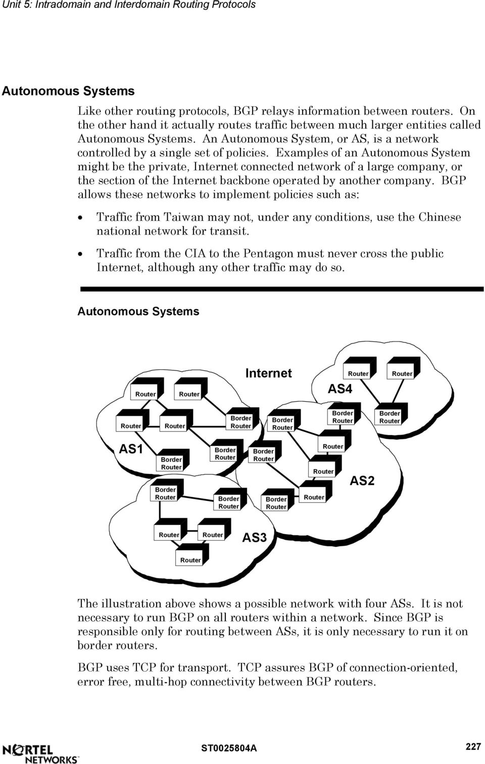 Examples of an Autonomous System might be the private, Internet connected network of a large company, or the section of the Internet backbone operated by another company.