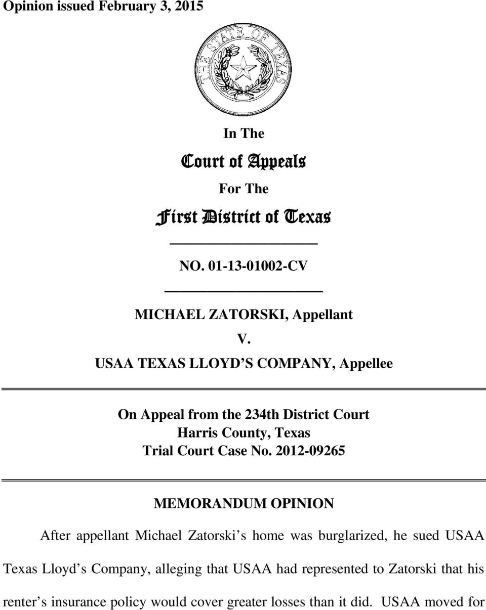 USAA TEXAS LLOYD S COMPANY, Appellee On Appeal from the 234th District Court Harris County, Texas Trial Court Case No.