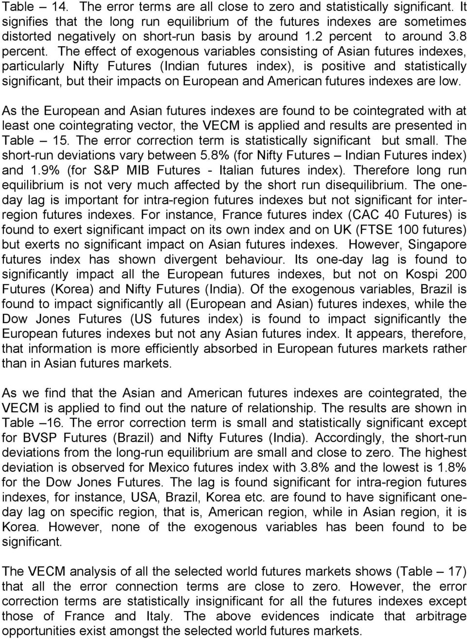 The effect of exogenous variables consisting of Asian futures indexes, particularly Nifty Futures (Indian futures index), is positive and statistically significant, but their impacts on European and