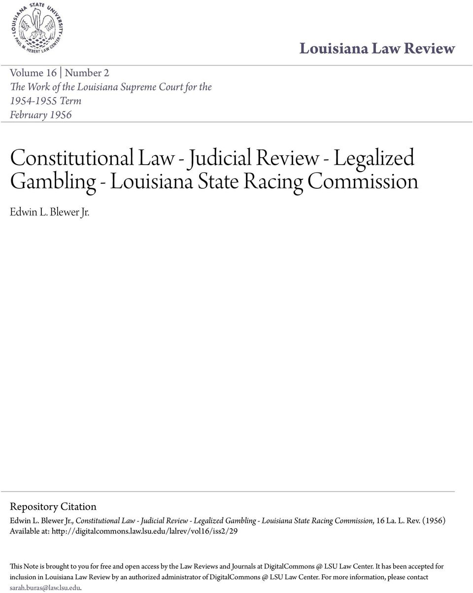 law.lsu.edu/lalrev/vol16/iss2/29 This Note is brought to you for free and open access by the Law Reviews and Journals at DigitalCommons @ LSU Law Center.