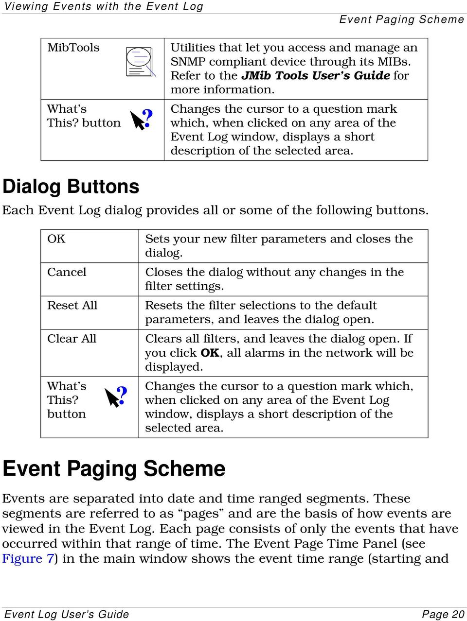 Dialog Buttons Each Event Log dialog provides all or some of the following buttons. OK Cancel Reset All Clear All What s This? button? Sets your new filter parameters and closes the dialog.