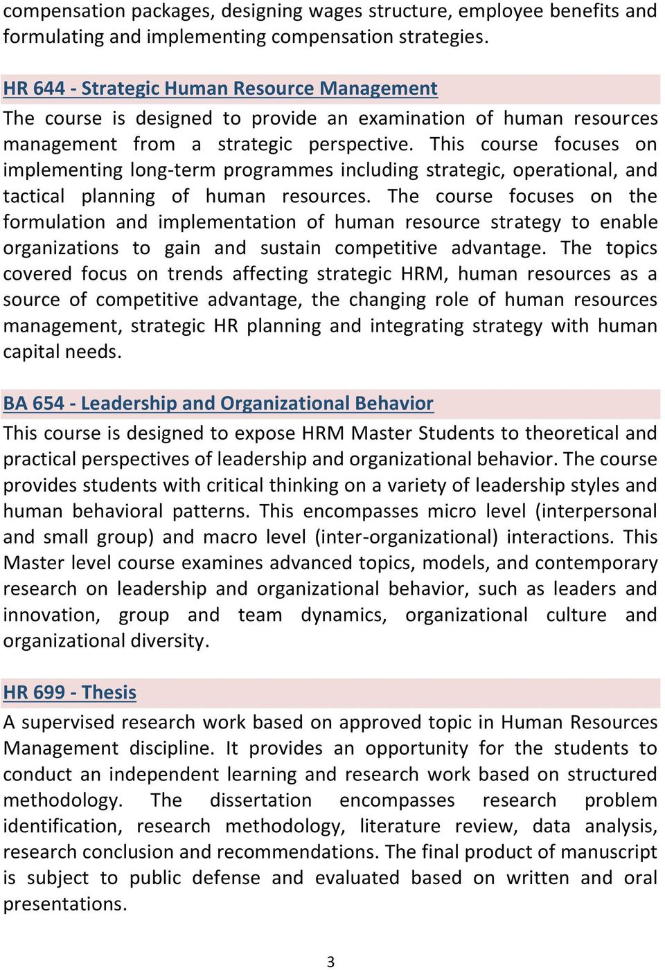 This course focuses on implementing long-term programmes including strategic, operational, and tactical planning of human resources.