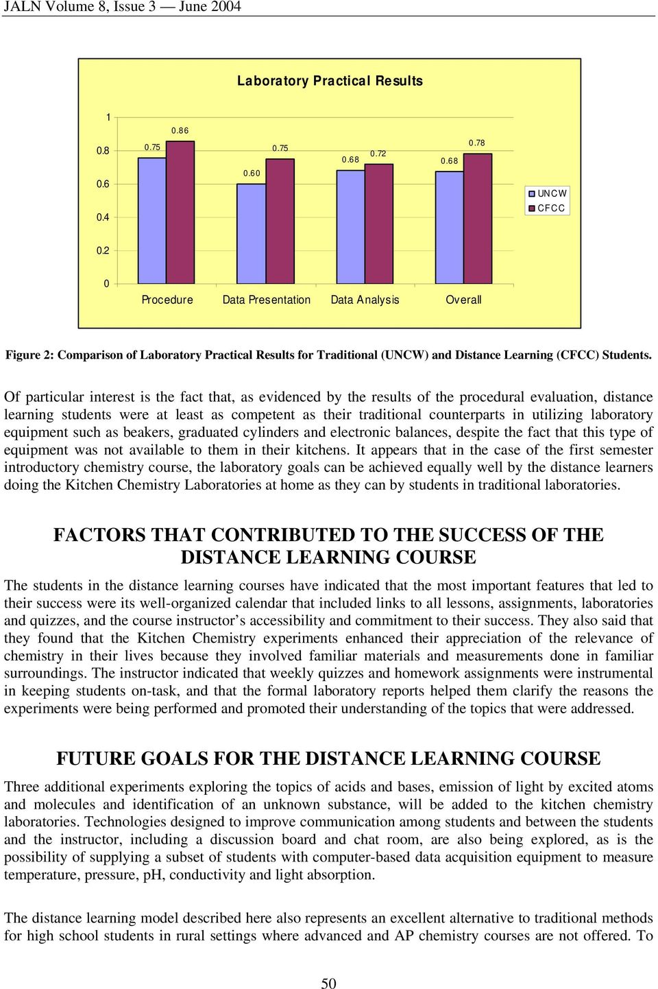 Of particular interest is the fact that, as evidenced by the results of the procedural evaluation, distance learning students were at least as competent as their traditional counterparts in utilizing