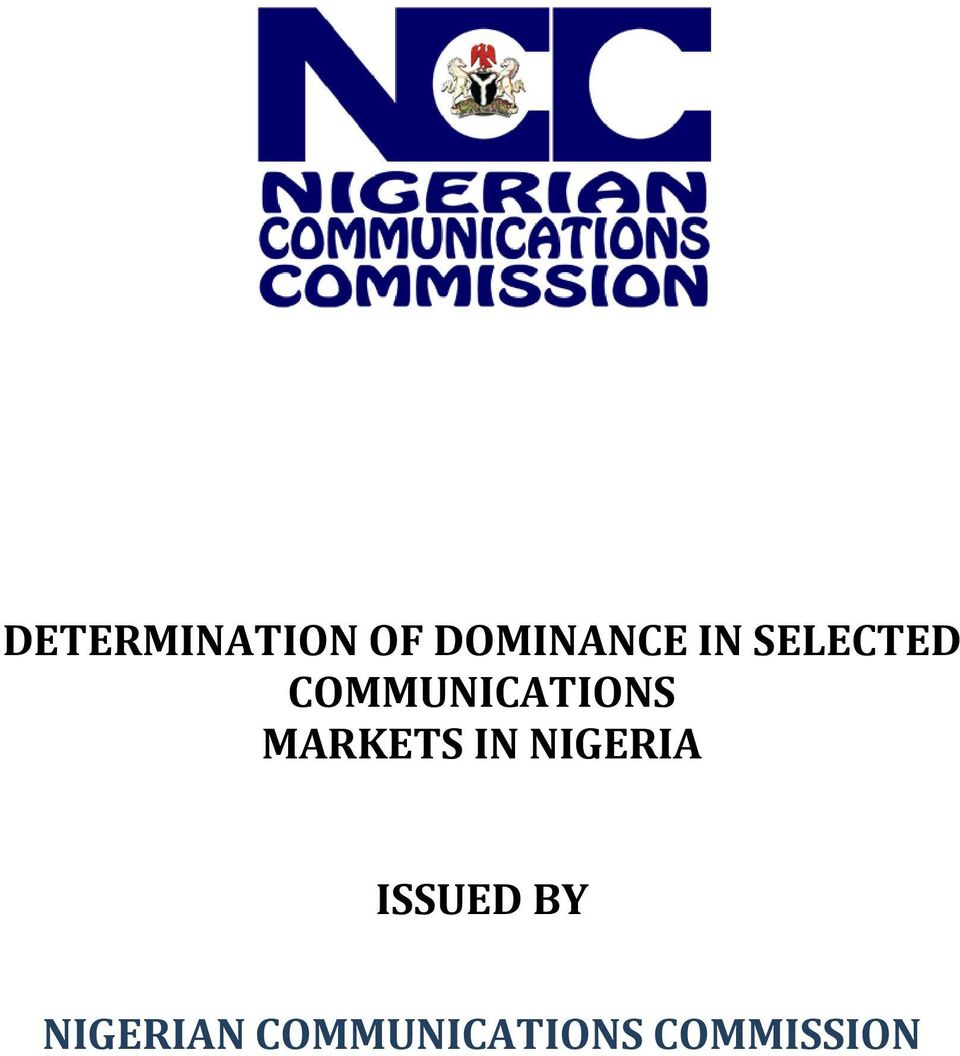 MARKETS IN NIGERIA ISSUED BY
