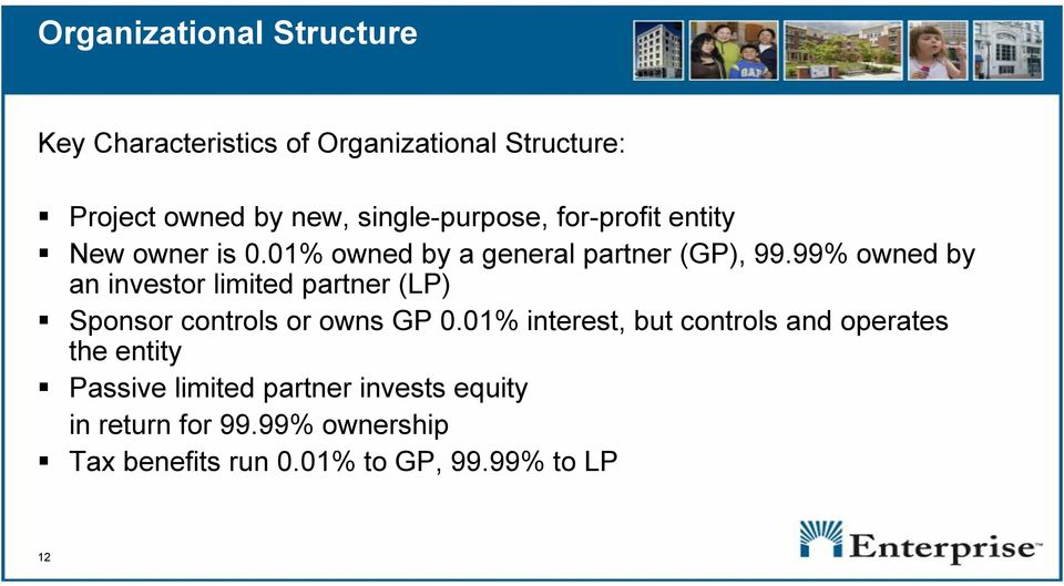 99% owned by an investor limited partner (LP) Sponsor controls or owns GP 0.
