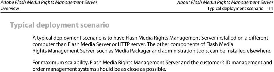 The other components of Flash Media Rights Management Server, such as Media Packager and administration tools, can be installed