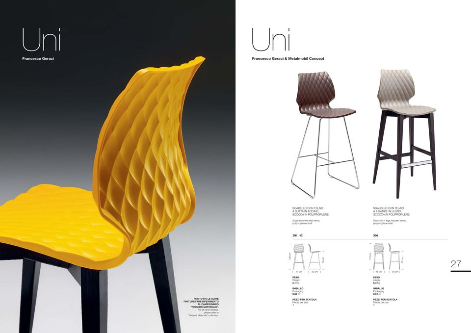 Stool with 4 legs wooden frame, polypropylene shell.