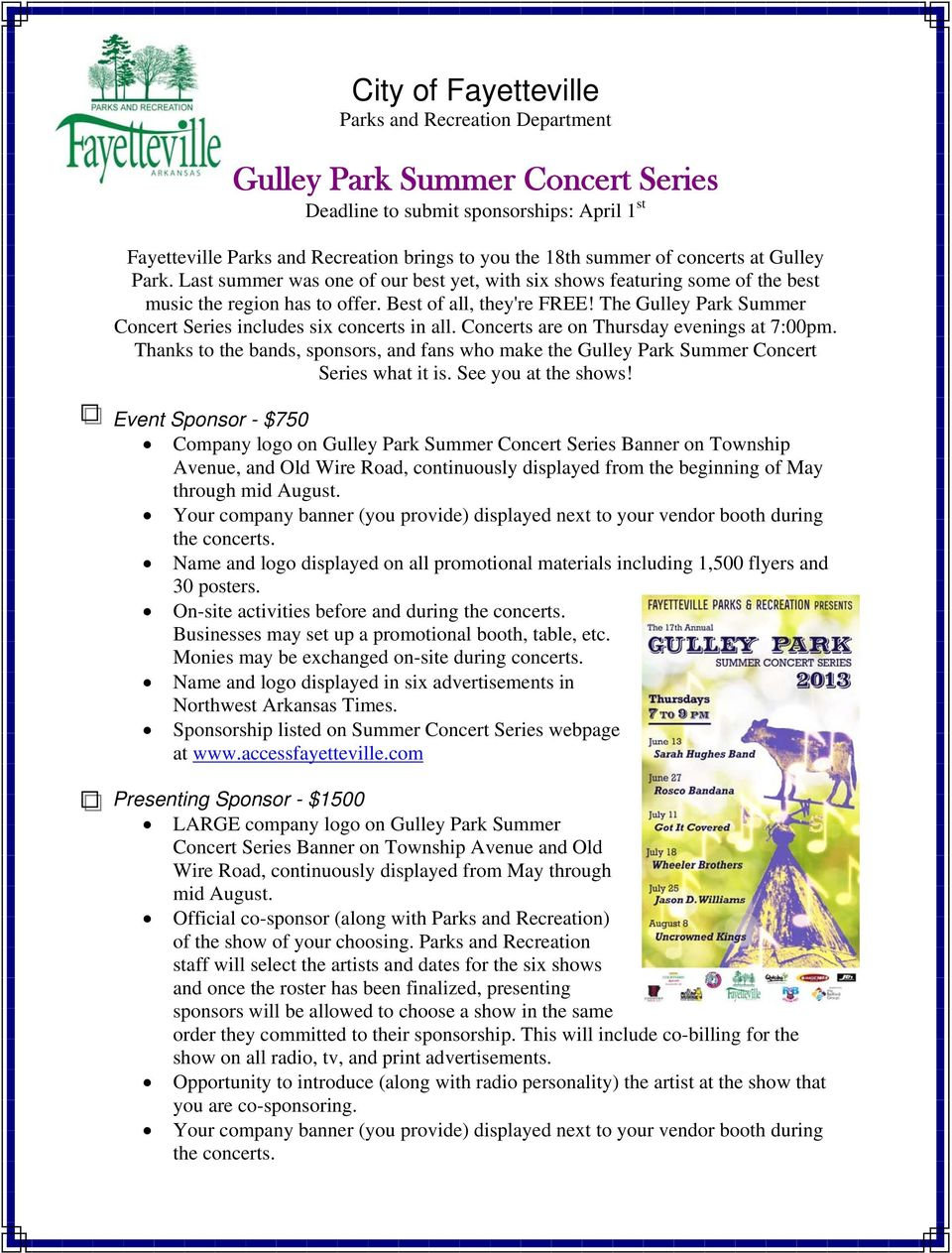 The Gulley Park Summer Concert Series includes six concerts in all. Concerts are on Thursday evenings at 7:00pm.
