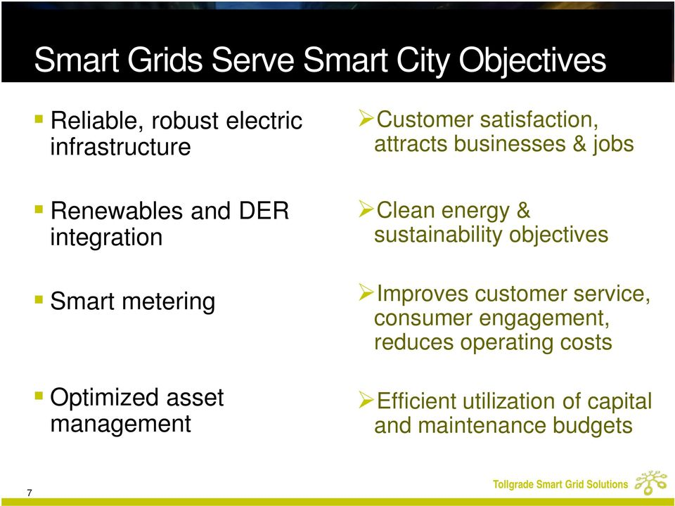 businesses & jobs Clean energy & sustainability objectives Improves customer service,