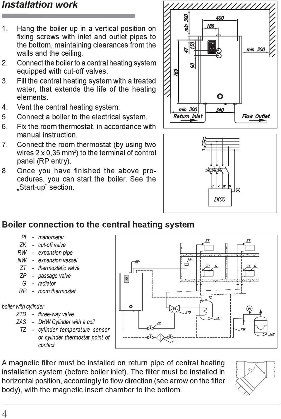 Vent the central heating system. 5. Connect a boiler to the electrical system. 6. Fix the room thermostat, in accordance with manual instruction. 7.