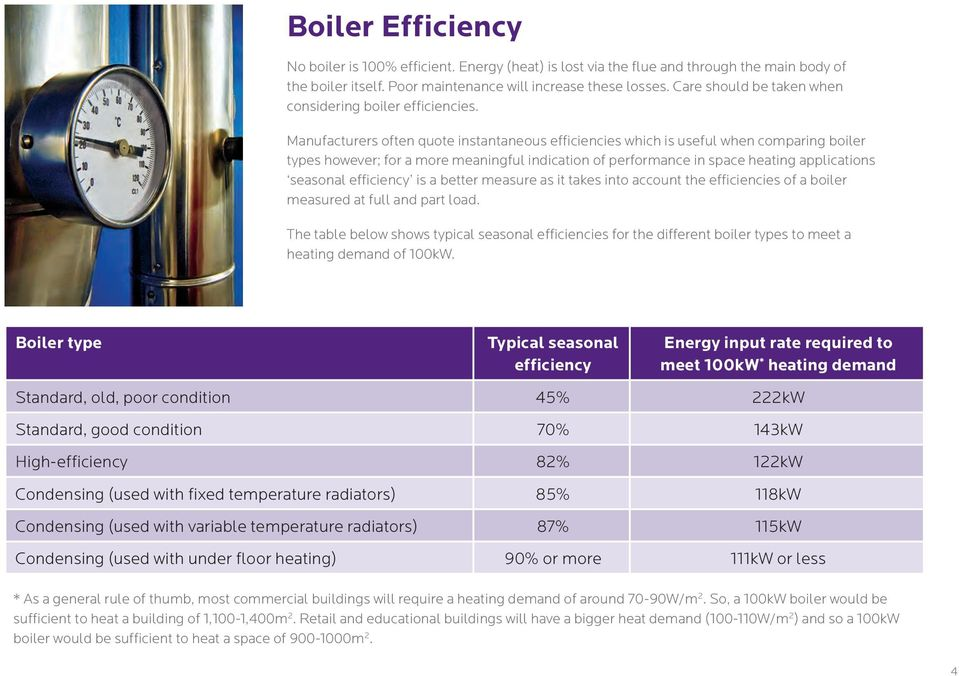 Manufacturers often quote instantaneous efficiencies which is useful when comparing boiler types however; for a more meaningful indication of performance in space heating applications seasonal