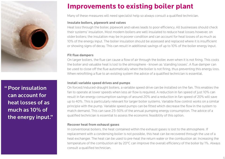 Most modern boilers are well insulated to reduce heat losses however, on older boilers; the insulation may be in poorer condition and can account for heat losses of as much as 10% of the energy input.