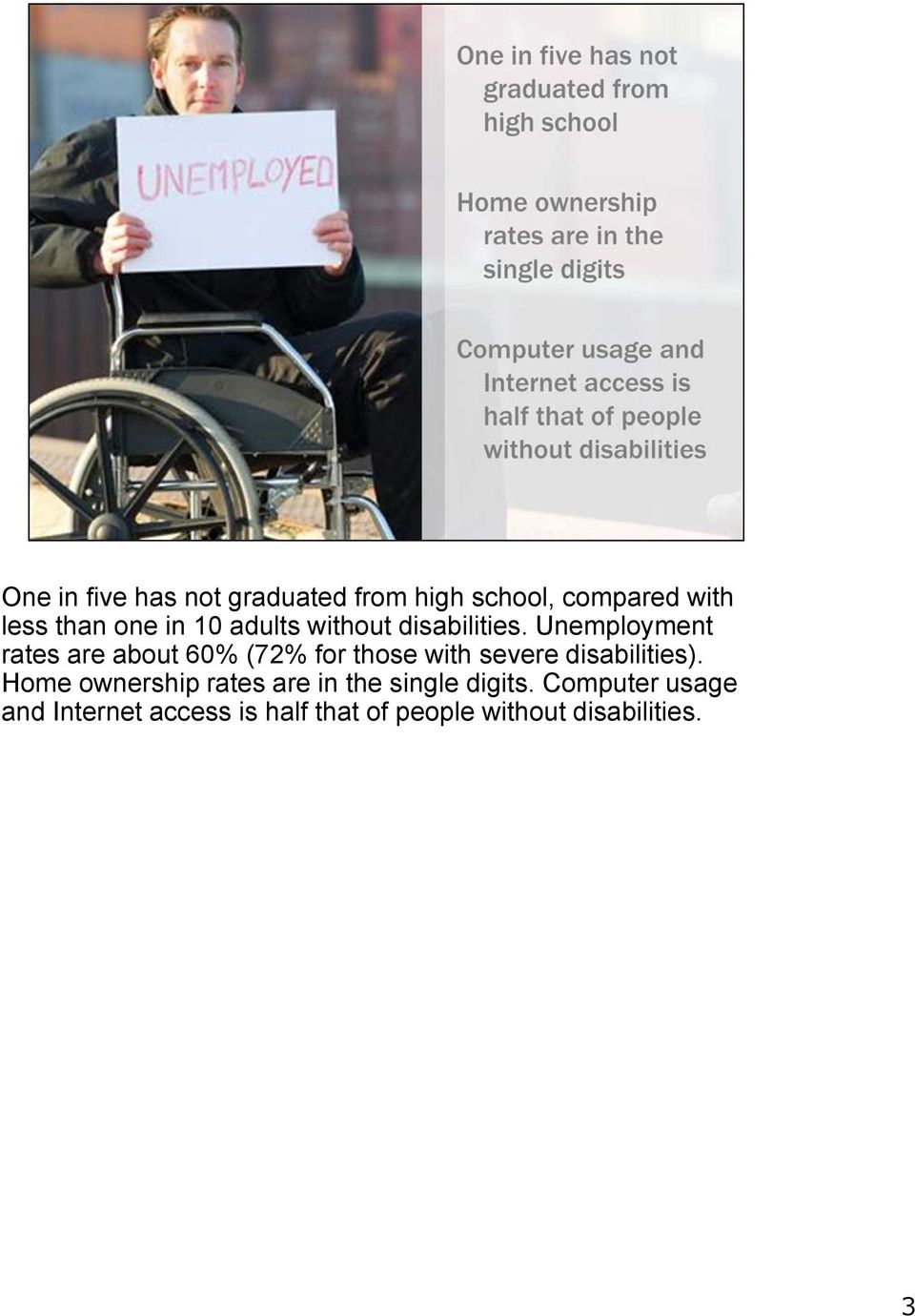 Unemployment rates are about 60% (72% for those with severe disabilities).