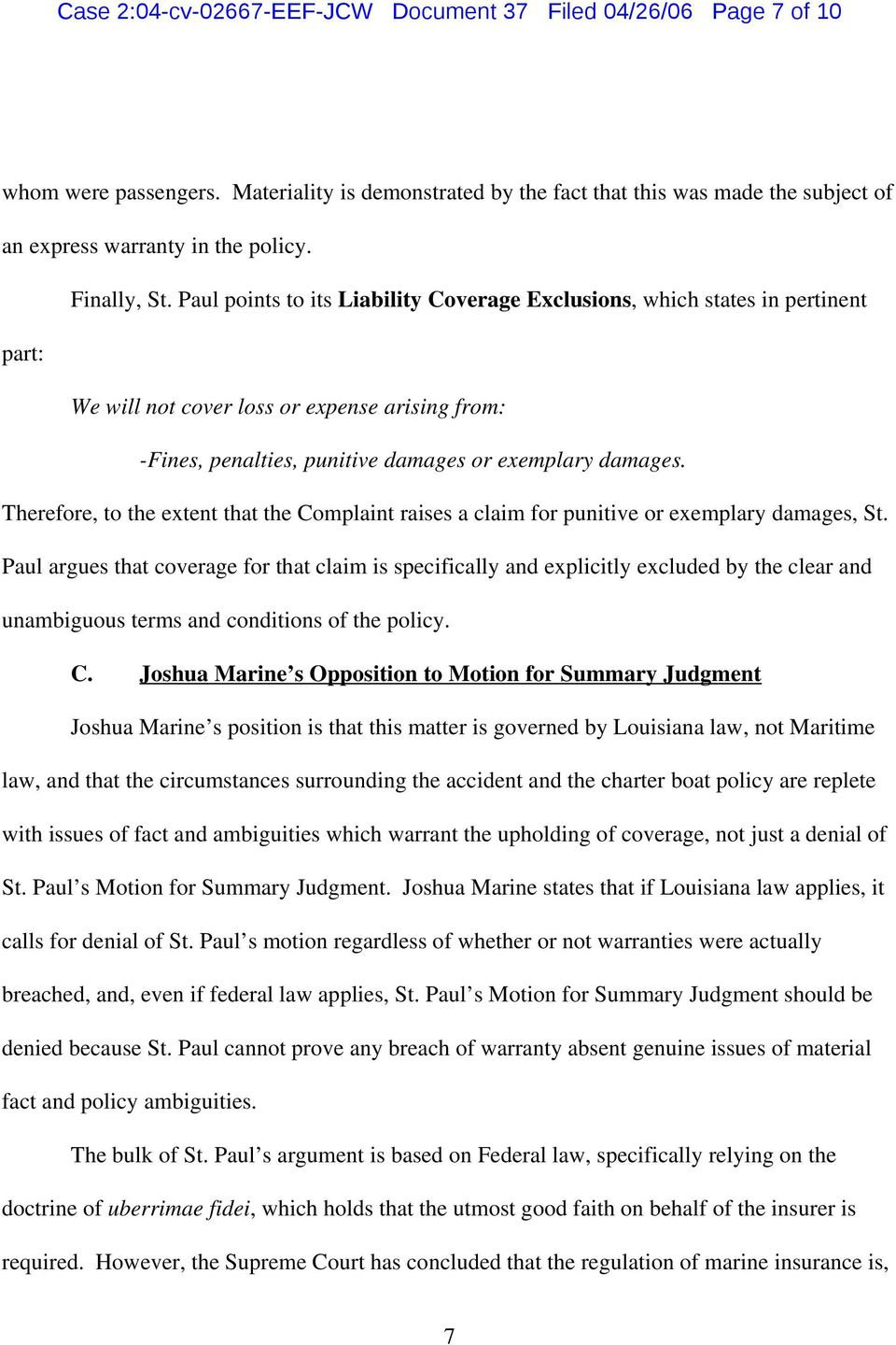 Therefore, to the extent that the Complaint raises a claim for punitive or exemplary damages, St.
