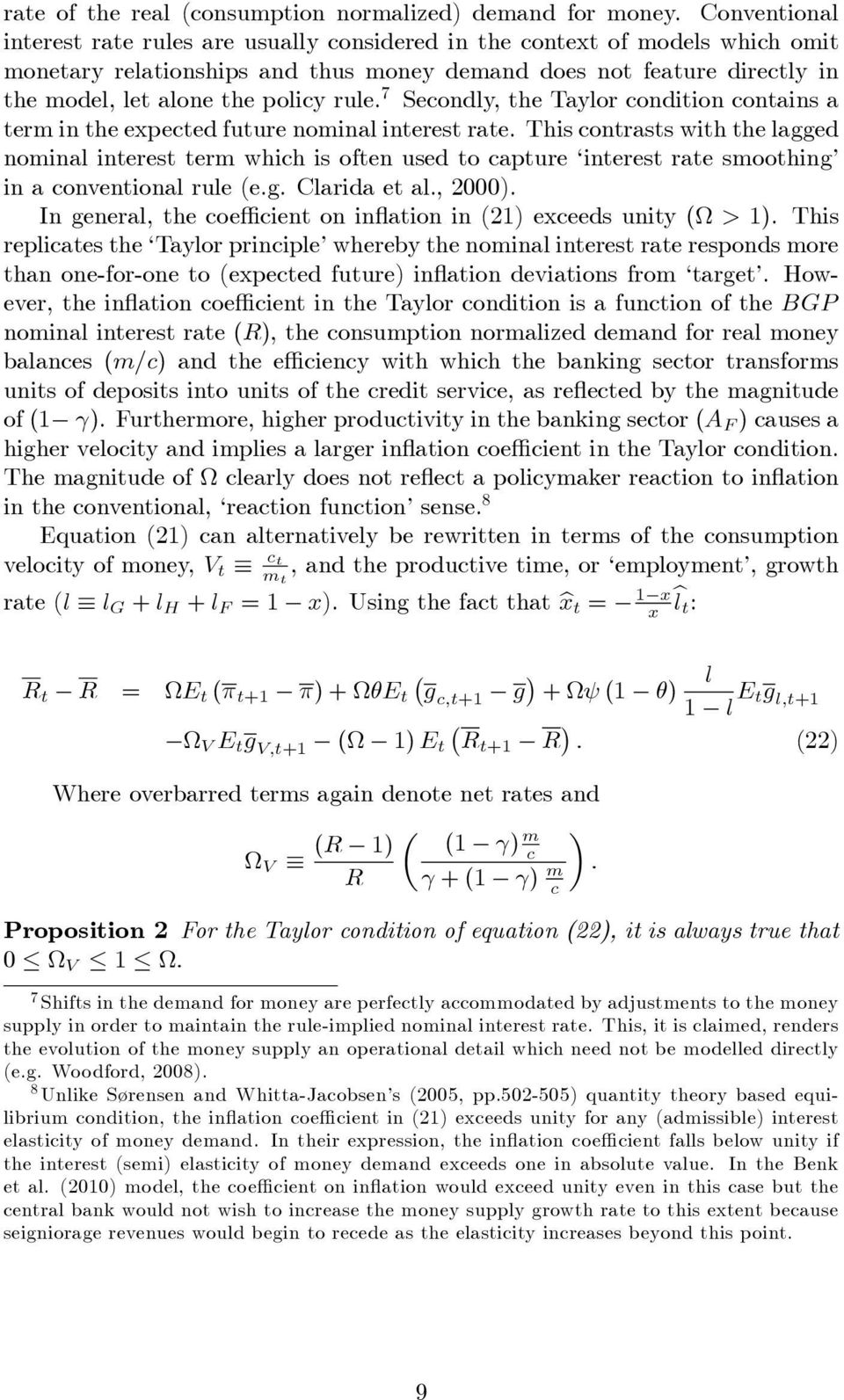 7 Seondly, the Taylor ondition ontains a term in the expeted future nominal interest rate.