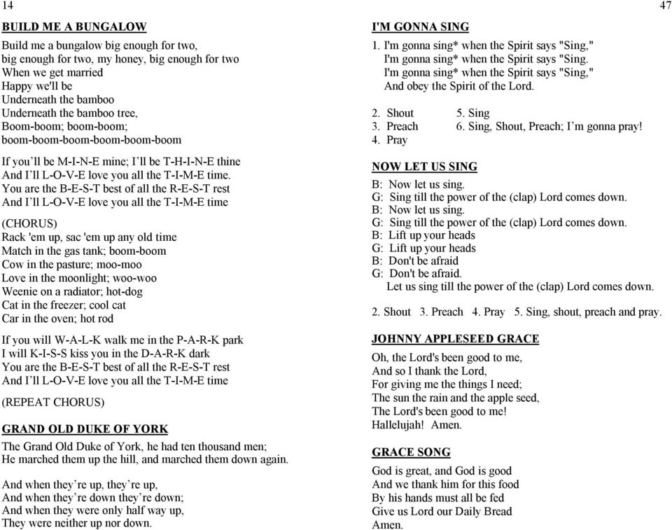 Lincoln County 4 H Camp Songs Pdf