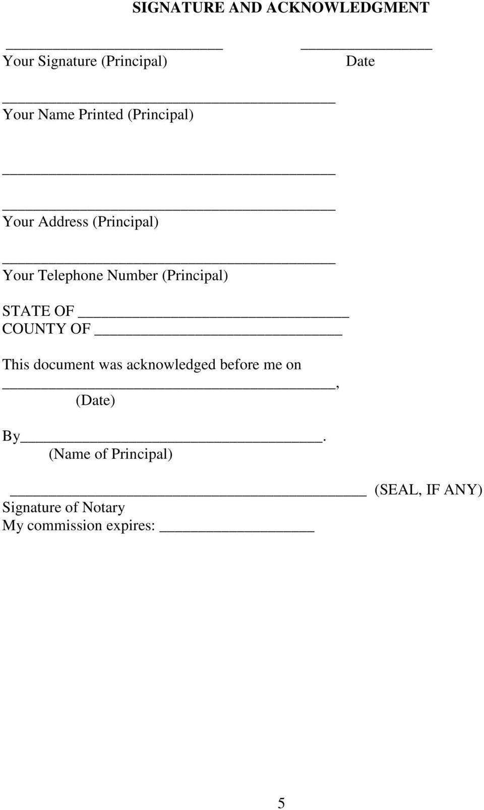 (Principal) STATE OF COUNTY OF This document was acknowledged before me on,