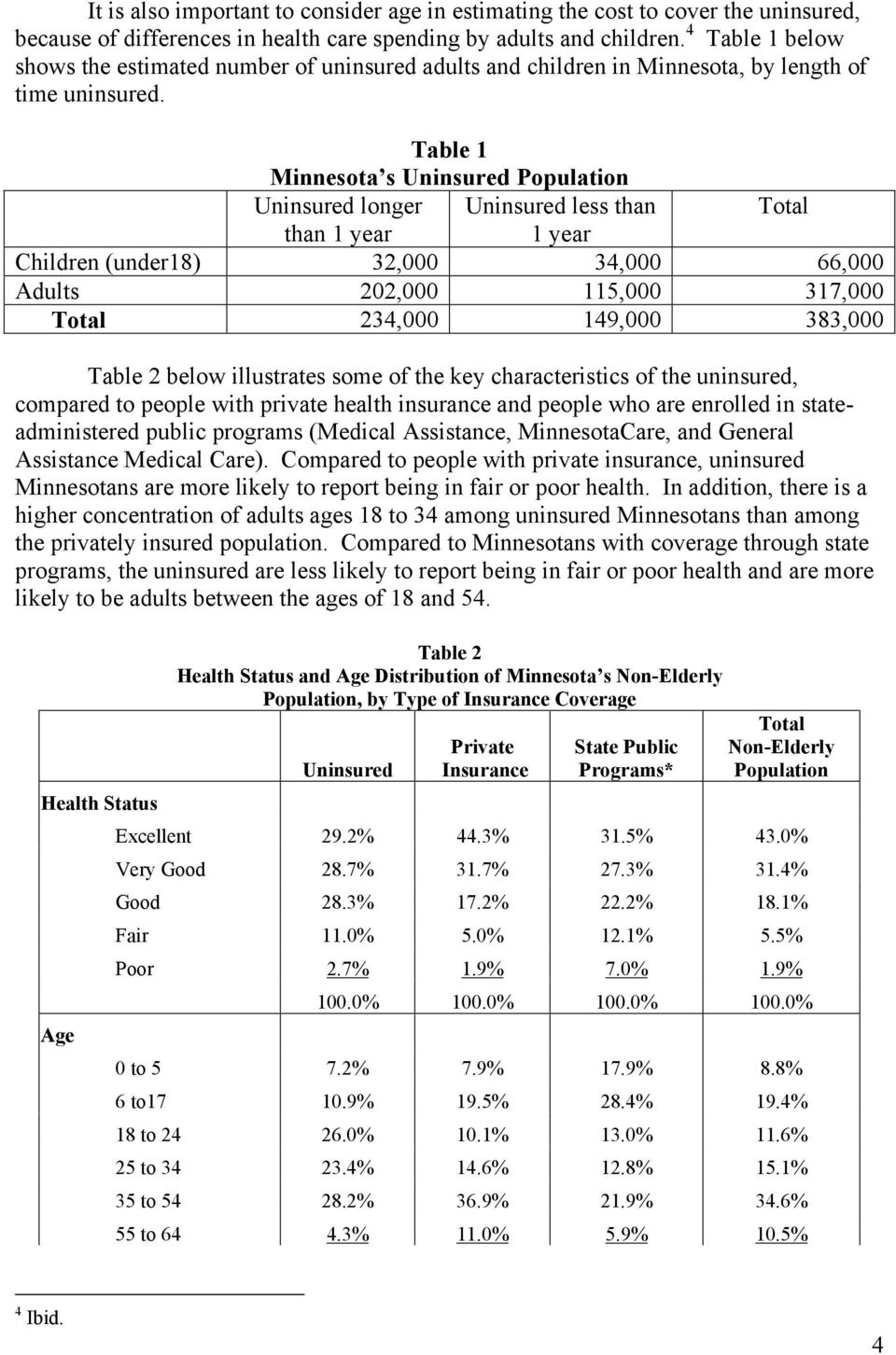 Table 1 Minnesota s Uninsured Population Uninsured longer Uninsured less than Total than 1 year 1 year Children (under18) 32,000 34,000 66,000 Adults 202,000 115,000 317,000 Total 234,000 149,000