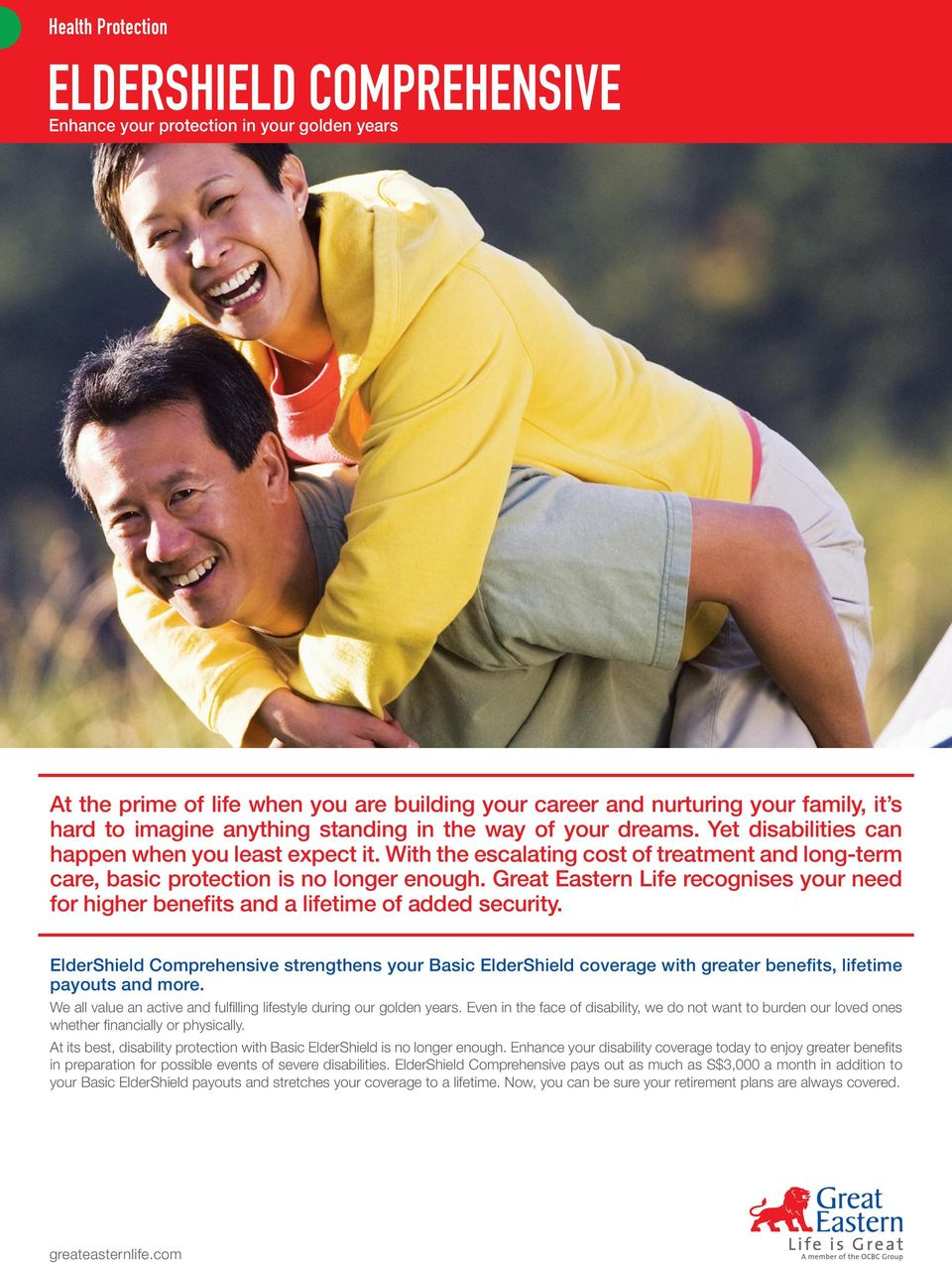 eldershield comprehensive pdfgreat eastern life recognises your need for higher benefits and a lifetime of added security