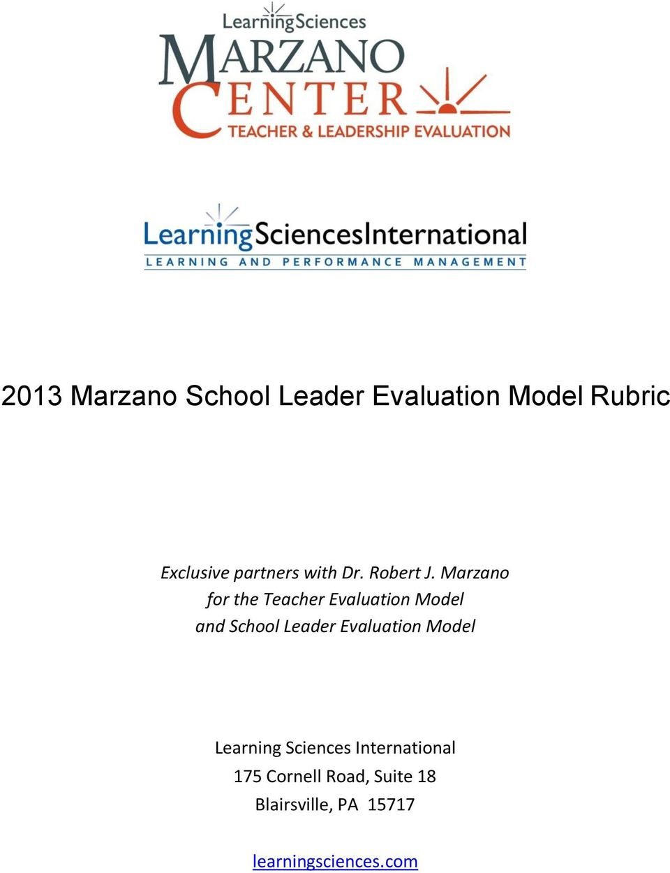 Marzano for the Teacher Evaluation Model and School Leader