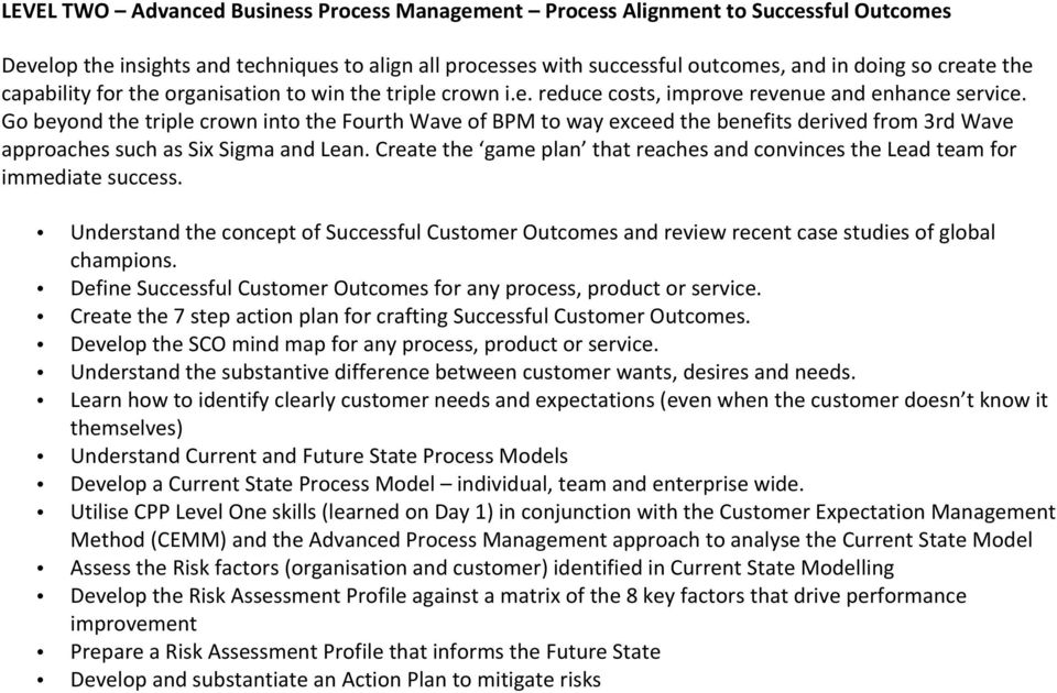 Go beyond the triple crown into the Fourth Wave of BPM to way exceed the benefits derived from 3rd Wave approaches such as Six Sigma and Lean.