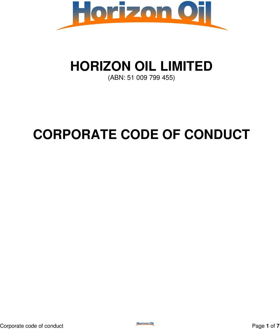 CODE OF CONDUCT Corporate